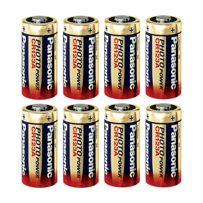 Panasonic CR123A 3 Volt Lithium Battery (Pack of 8)