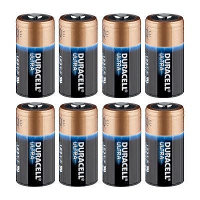 Duracell Ultra CR123A 3 Volt Lithium Battery - Pack of 8