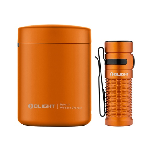 Olight Baton 3 Premium Rechargeable LED Torch With Wireless Charging (Limited Edition Orange)