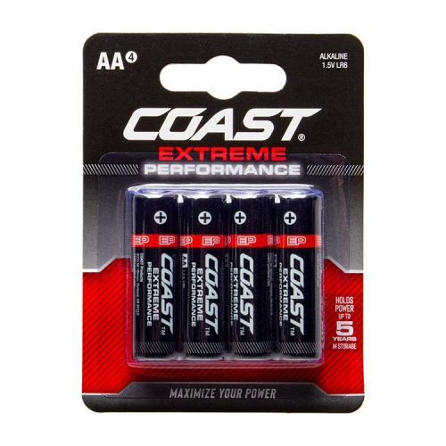 Coast Extreme Performance AA Alkaline Batteries - Pack of 4