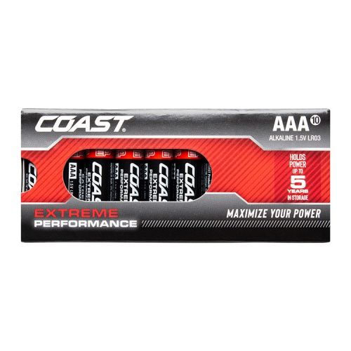Coast Extreme Performance AAA Alkaline Batteries - Pack of 10