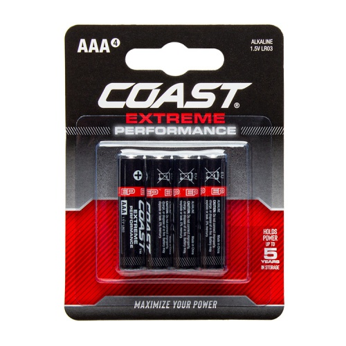 Coast Extreme Performance AAA Alkaline Batteries - Pack of 4