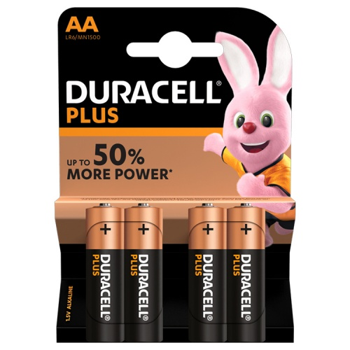 Duracell Plus AA Alkaline Batteries (Pack of 4)