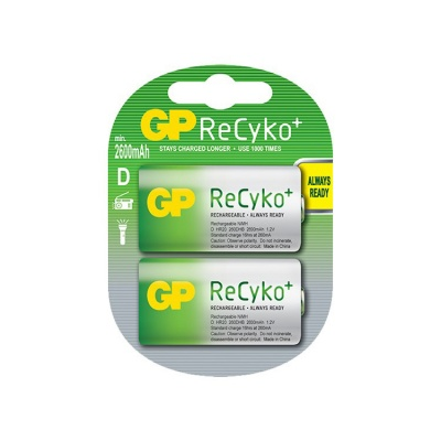 GP ReCyko+ D Cell 2600 mAh NiMH Batteries (2 Pack)