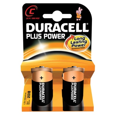 Duracell Plus Power C Cell Alkaline Batteries - 2 Pack