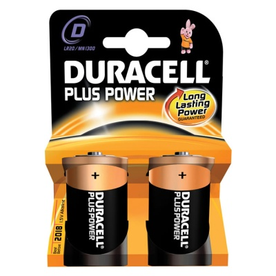 Duracell Plus Power D Cell Alkaline Batteries - 2 Pack