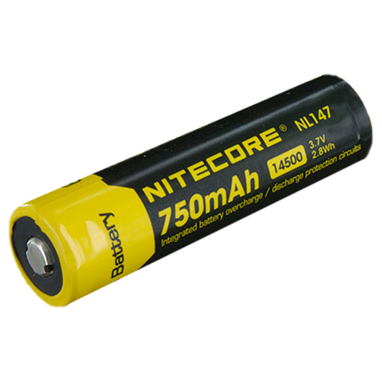 nitecore 14500 3 7 v 750 mah li ion protected battery. Black Bedroom Furniture Sets. Home Design Ideas