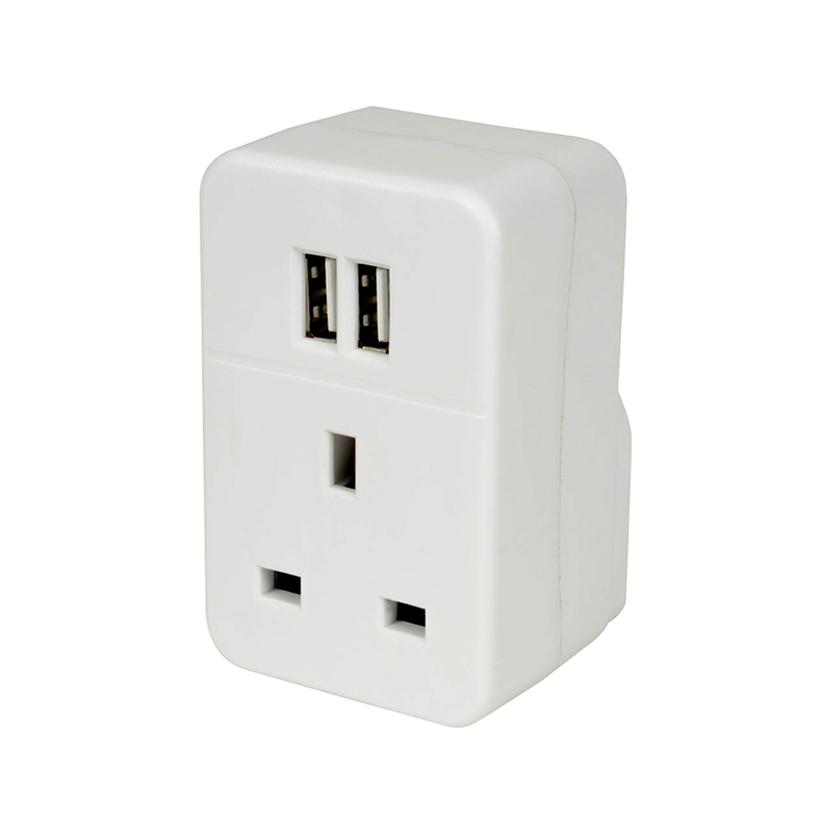 Plug Through Mains Adaptor With Dual USB Ports (2 x 1200 mA Output)