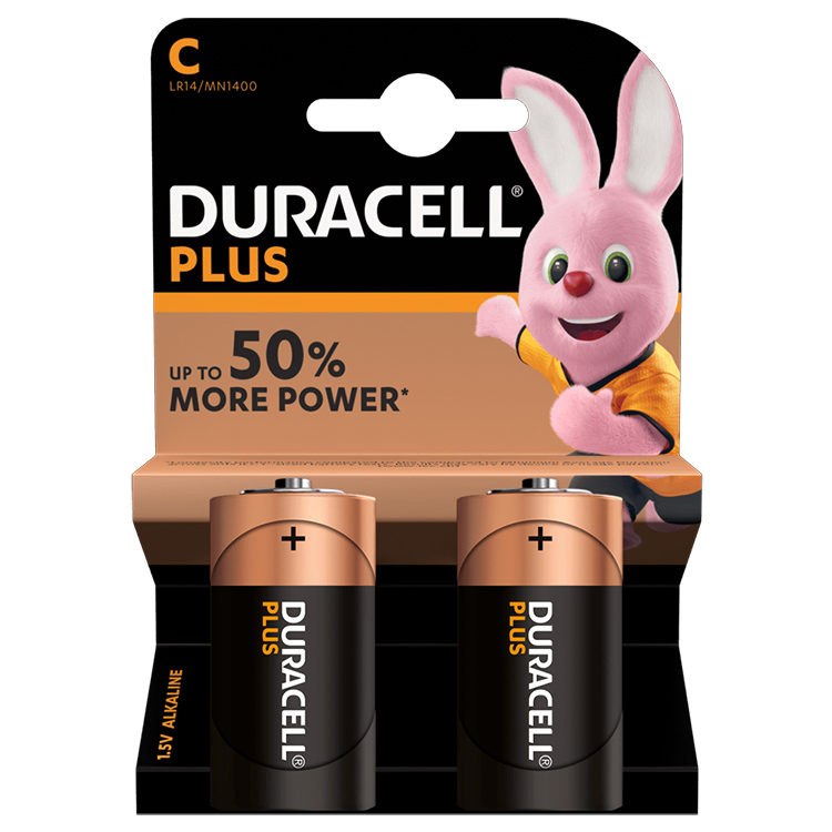 Duracell Plus C Cell Alkaline Batteries (Pack of 2)