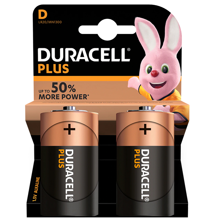 Duracell Plus D Cell Alkaline Batteries (Pack of 2)