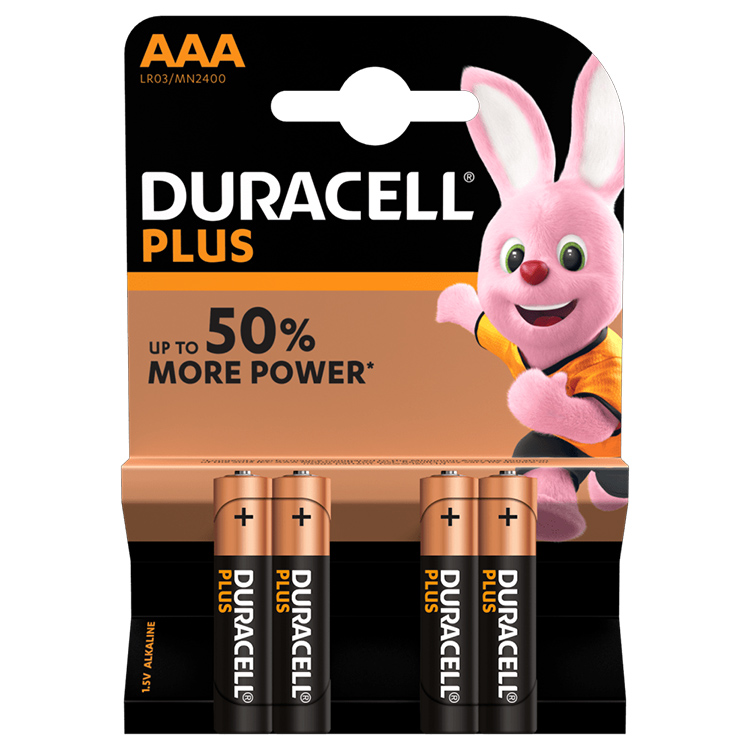 Duracell Plus AAA Alkaline Batteries (Pack of 4)