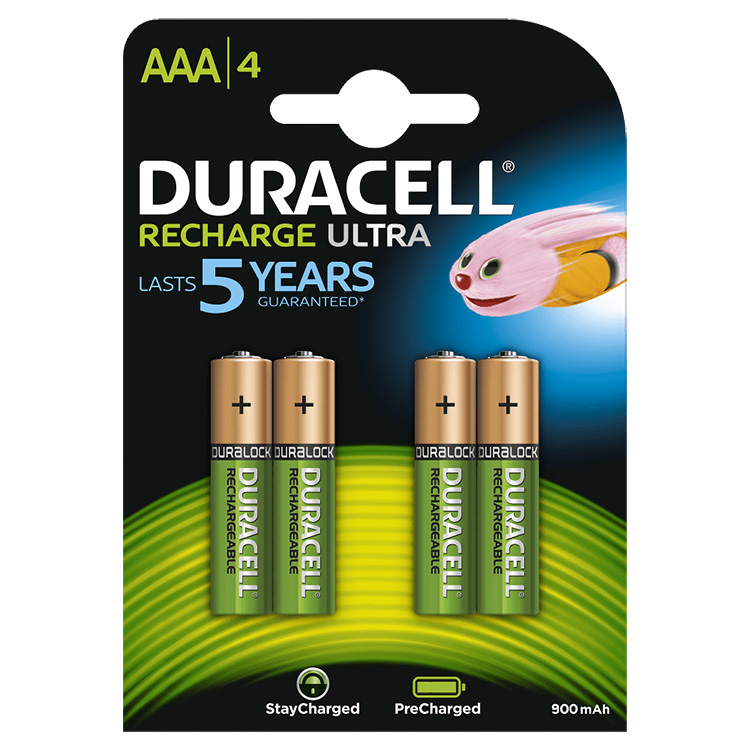 Duracell Recharge Ultra AAA 900 mAh NiMH Batteries
